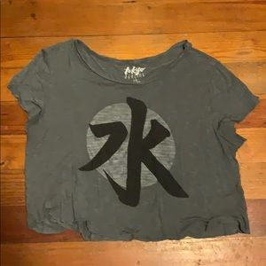 Grey Crop Top with Japanese Character